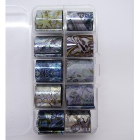 set de 10 foils marbré