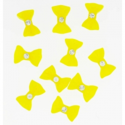 Noeud Jaune Grand Strass 10 Pieces
