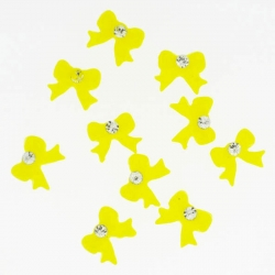 Noeud Jaune Rond Strass 10 Pieces