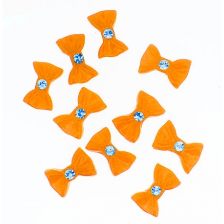 Noeud Orange Grand Strass 10 Pieces