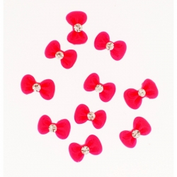Noeud Rouge Rond Strass 10 Pieces