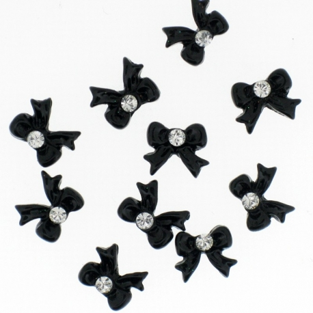 Noeud Noir Cocarde Rond Strass 10 Pieces