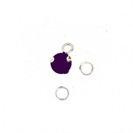 Piercing DOngle Boule Ronde Mauve Fonce + Strass