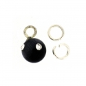Piercing DOngle Boule Ronde Noir + Strass 1Pc
