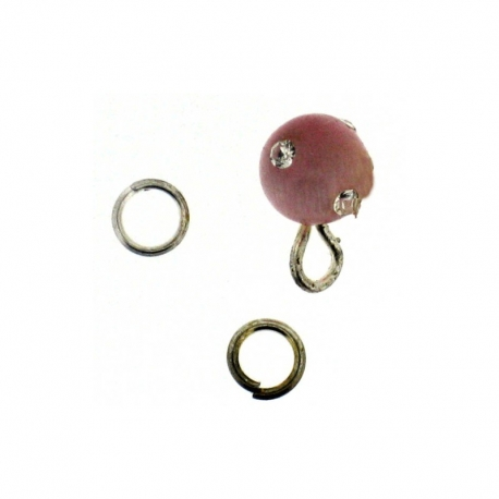 Piercing DOngle Boule Ronde Rose + Strass 1Pc