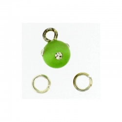 Piercing DOngle Boule Ronde Vert Clair + Strass