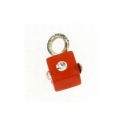 Piercing DOngle Carre Rouge + Strass 1Pc/Sachet