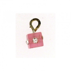 Piercing DOngle Carre Rose + Strass 1Pc/Sachet