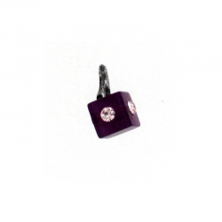 Piercing DOngle Carre Mauve Fonce + Strass 1Pc/Sa