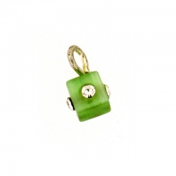 Piercing DOngle Carre Vert Clair + Strass 1Pc/Sac