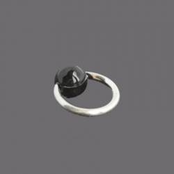 Piercing Anneau Argent Boule Noire