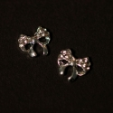 Noeud Cocarde Argent Strass 8Mm/8Mm 2 Pieces