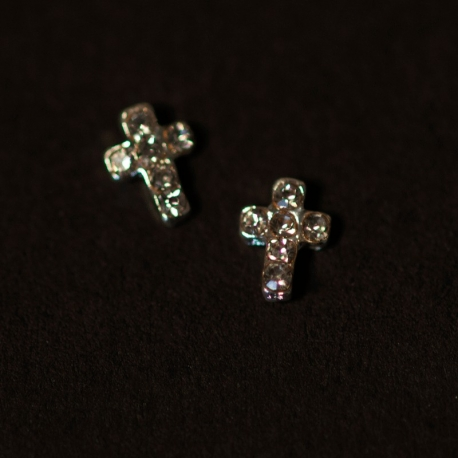 Mini Croix Argent Strass Clear 2Pcs