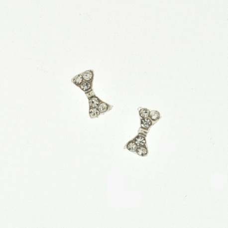Noeud Argent Strass 9Mm/3Mm 2 Pieces