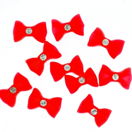 Noeud Rouge Grand Strass 10 Pieces